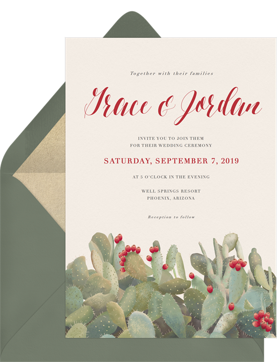 Desert Beauty destination wedding invitations from Greenvelope