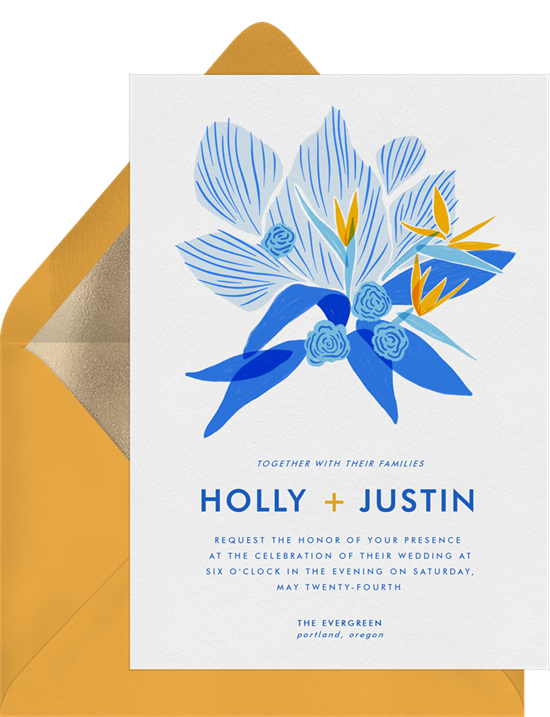 Birds of Paradise destination wedding invitations from Greenvelope