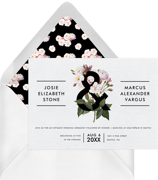 Bold Botanical destination wedding invitations from Greenvelope