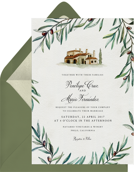 Spanish Vineyard destination wedding invitations from Greenvelope