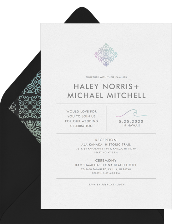 Haleakalā destination wedding invitations from Greenvelope
