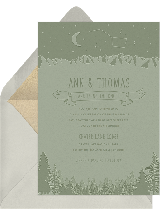 Crater Lake destination wedding invitations from Greenvelope