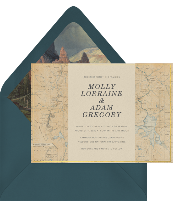 Yellowstone destination wedding invitations from Greenvelope