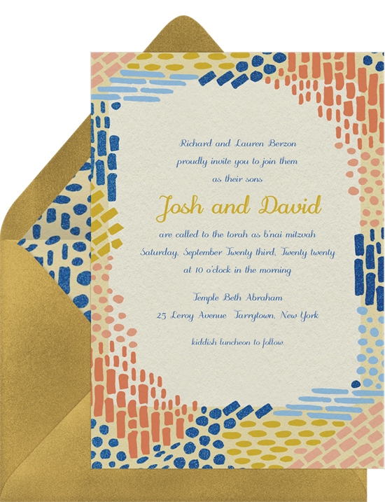 The Colorful Mosaic Bar Mitzvah Invitations from Greenvelope