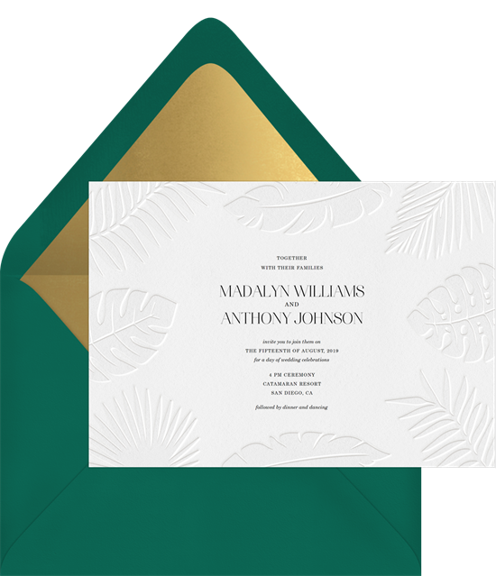 Pressed Palms destination wedding invitations from Greenvelope