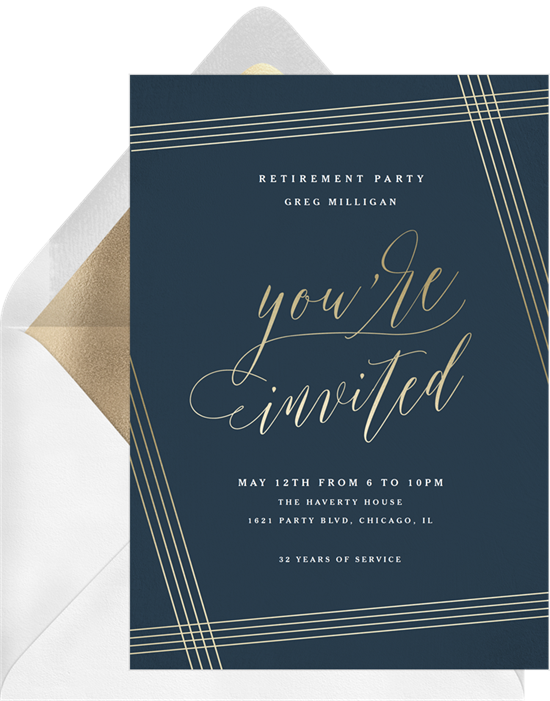Asymmetrical Pinstripe Frame retirement party invitations from Greenvelope
