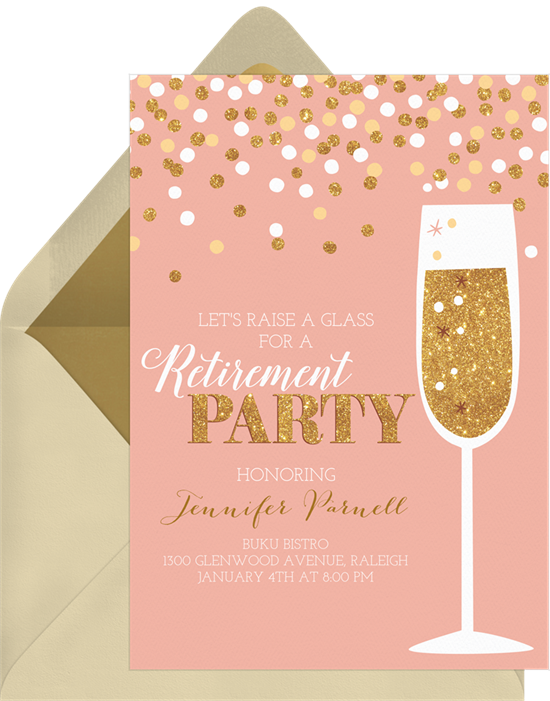 Champagne and Confetti retirement party invitations from Greenvelope