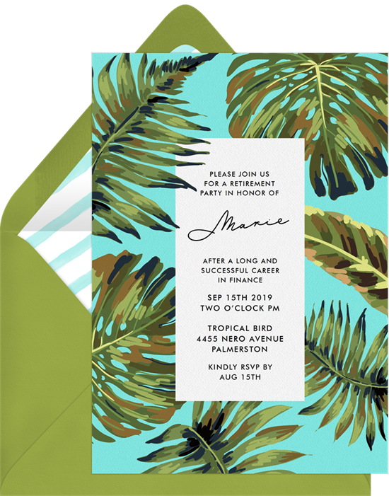 Palm Leaves retirement party invitations from Greenvelope