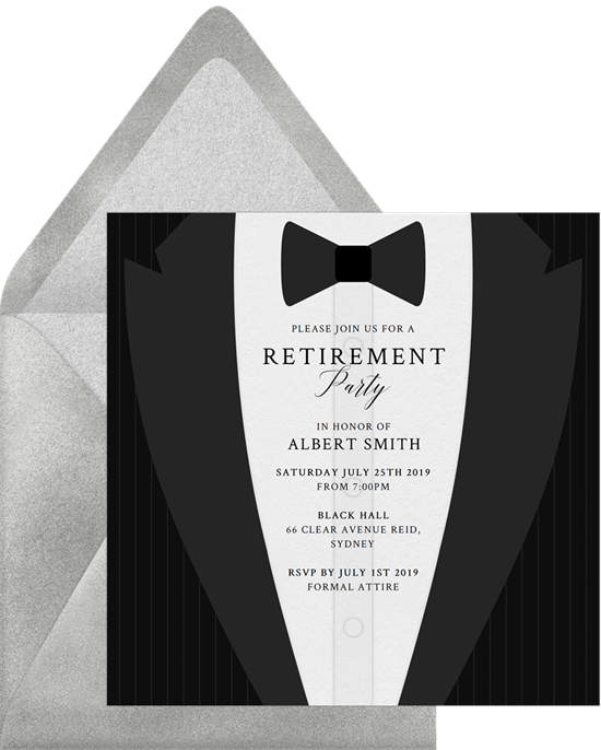 Black Tux retirement party invitations from Greenvelope