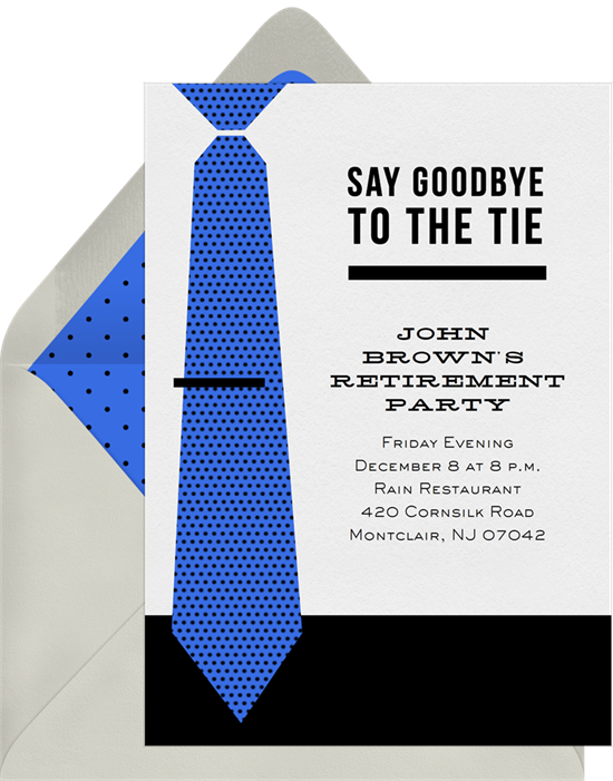 Goodbye to the Tie retirement party invitations from Greenvelope
