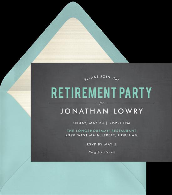 Blackboard Bash retirement party invitations from Greenvelope