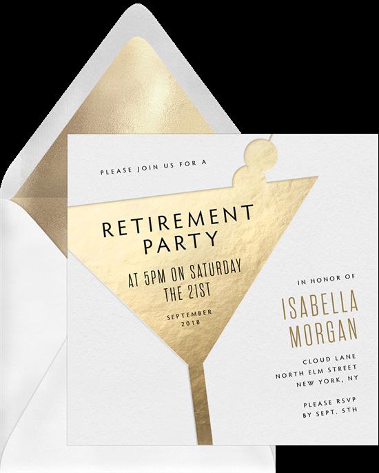 Minimal Martini retirement party invitations from Greenvelope
