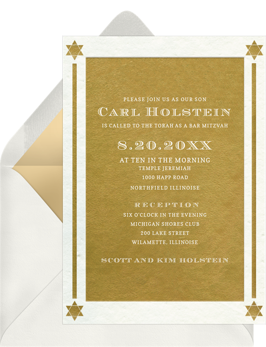 The Textured Gold Bar Mitzvah Invitations from Greenvelope