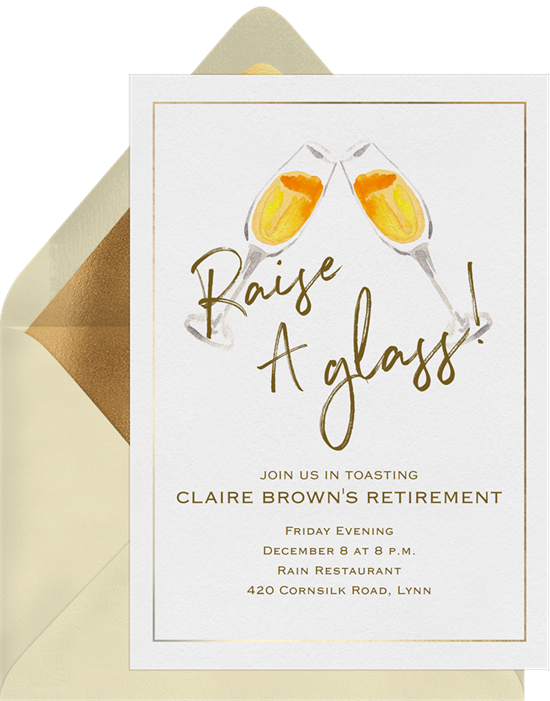 Raise a Glass retirement party invitations from Greenvelope