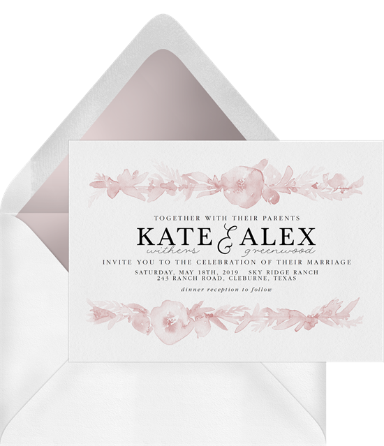 Floral Watercolor Bands baby shower invitations for girls