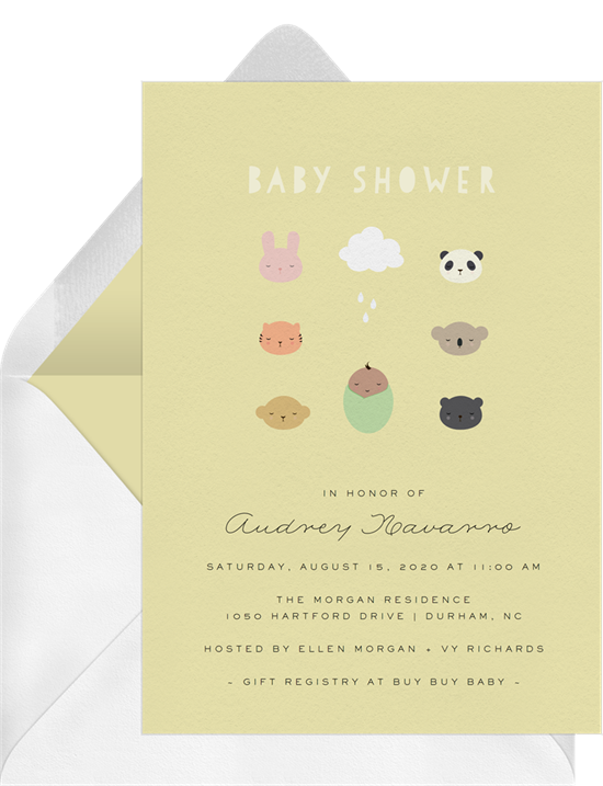 Animal Friends baby shower invitations for girls