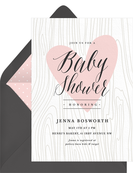 Woodgrain Heart baby shower invitations for girls