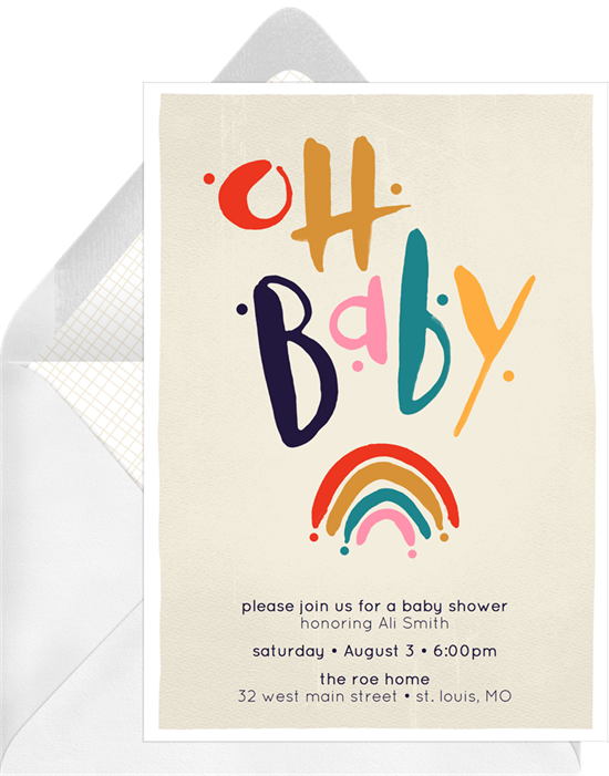 Baby Rainbow baby shower invitations for girls