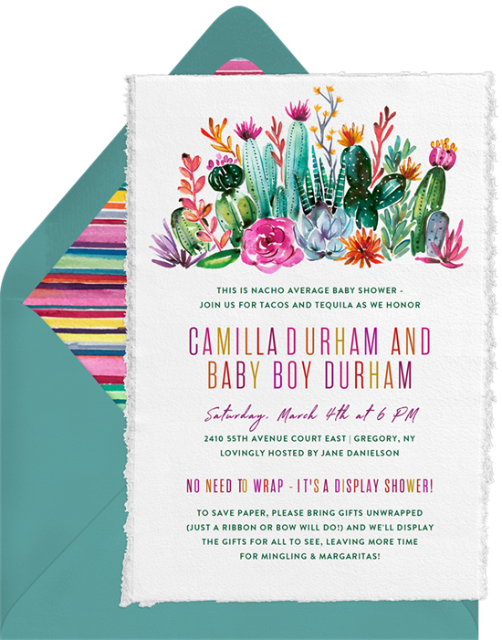 Cactus Blossoms baby shower invitations for girls