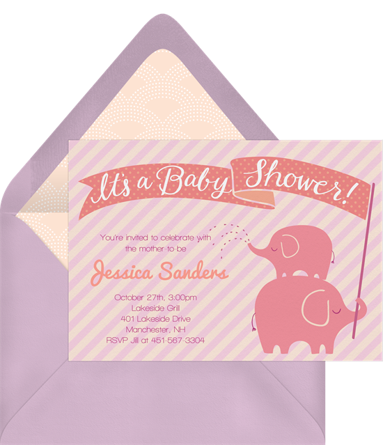 Stacked Elephants baby shower invitations for girls