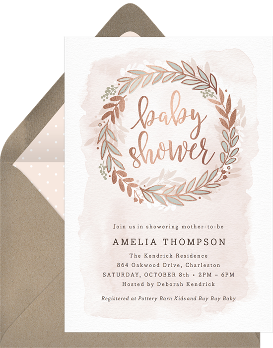 Rose Gold Wreath baby shower invitations for girls