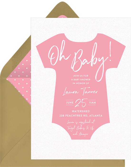 Bold Onesie baby shower invitations for girls