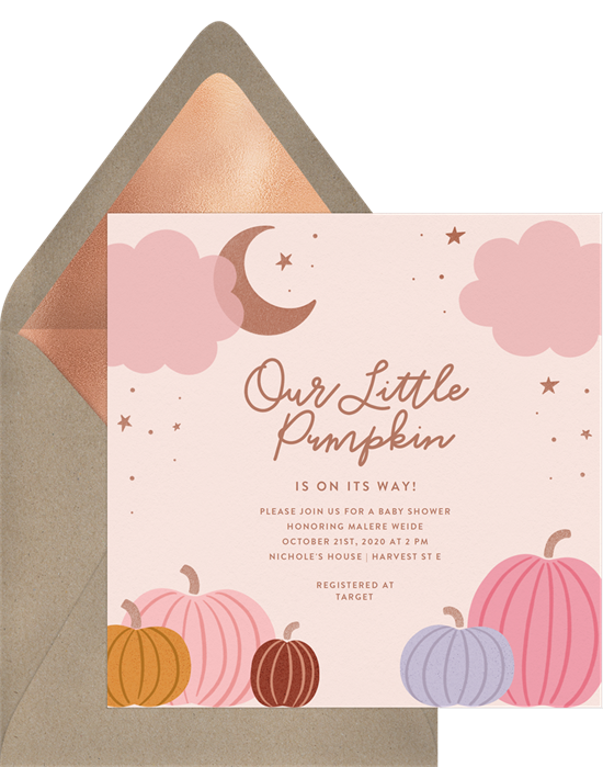 Little Pumpkin baby shower invitations for girls
