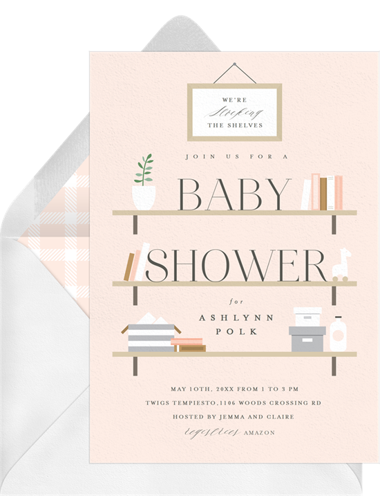 Stock the Shelves baby shower invitations for girls