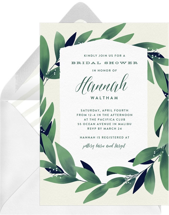 Lush Greenery couple's shower invitations from Greenvelope