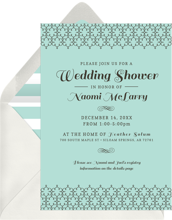 Classic Lattice couple's shower invitations from Greenvelope