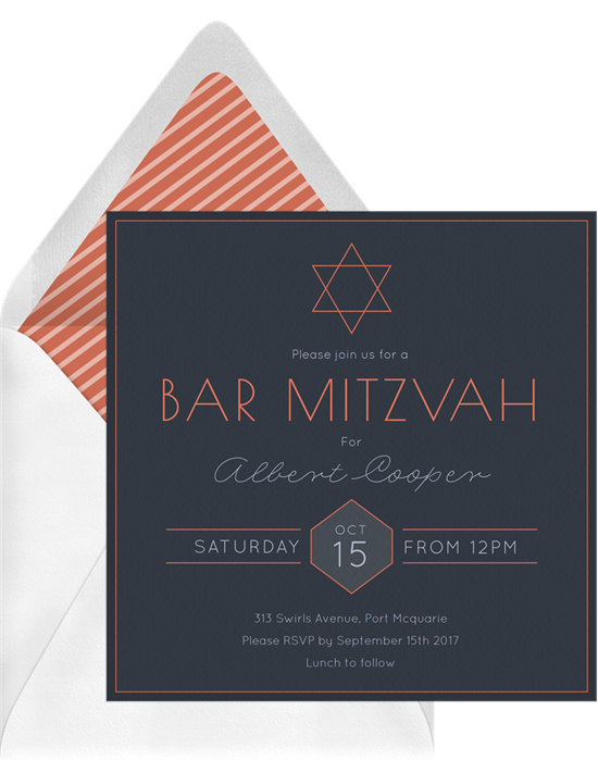 The Simple Bar Mitzvah Invitations from Greenvelope