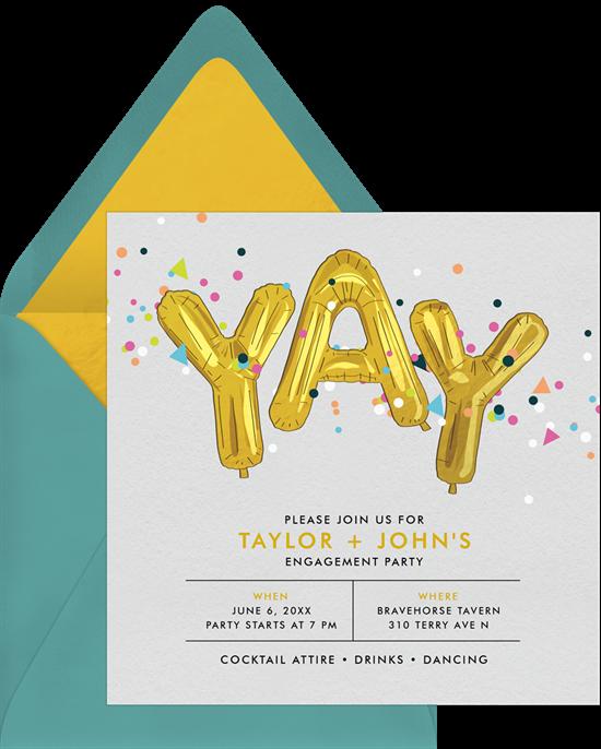 Confetti Celebration couple's shower invitations from Greenvelope