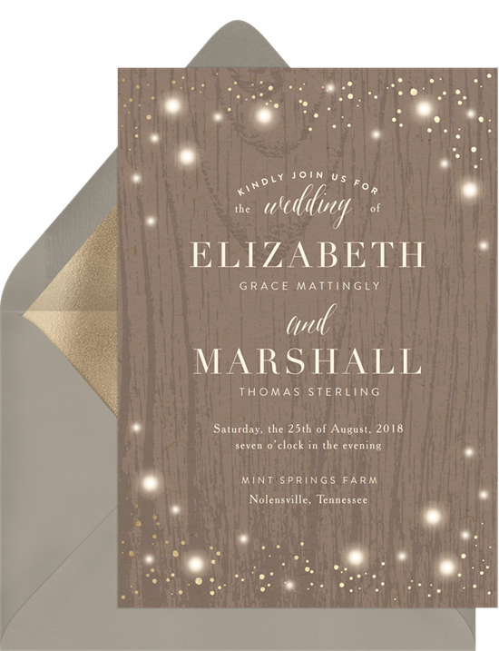 Rustic Twinkle couple's shower invitations from Greenvelope