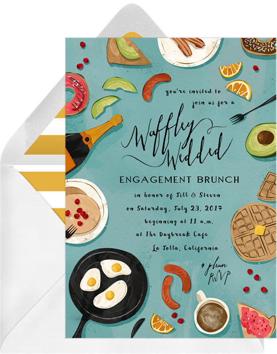 Waffley Wedded couple's shower invitations from Greenvelope