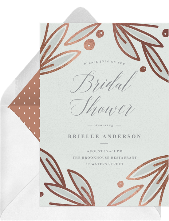Rose Gold Botanicals couple's shower invitations from Greenvelope