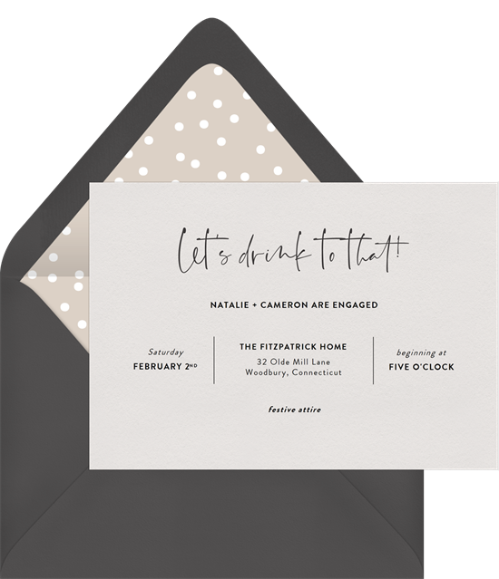 Let's Drink to That couple's shower invitations from Greenvelope
