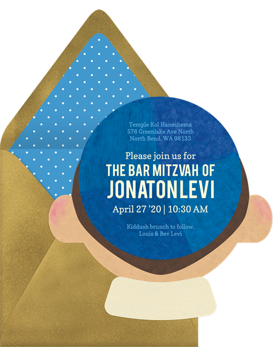 The Kippah Calm & Party On Bar Mitzvah Invitations from Greenvelope