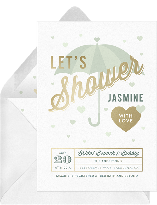 Raining Hearts couple's shower invitations from Greenvelope