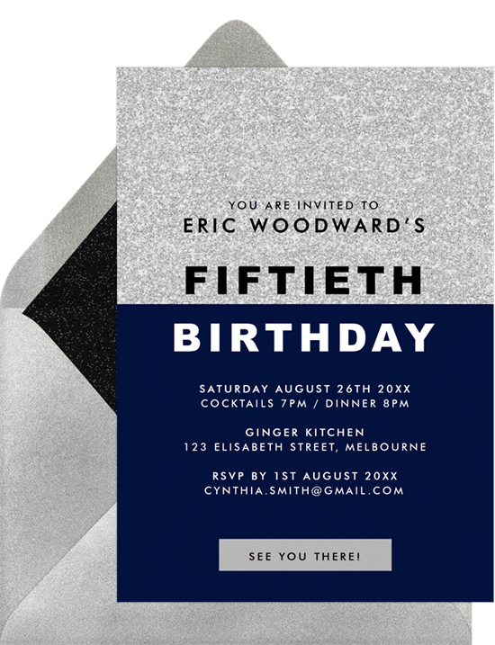Party on Top 50th birthday invitations from Greenvelope