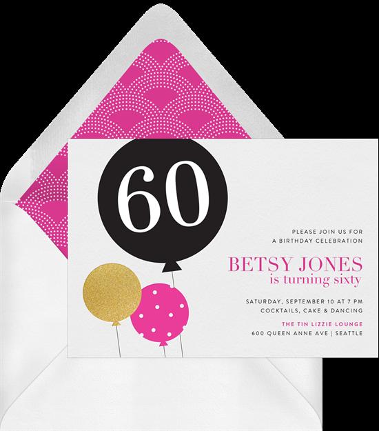 Milestone Balloon 50th birthday invitations from Greenvelope