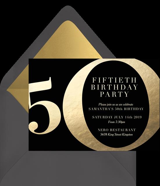 Golden 50th birthday invitations from Greenvelope