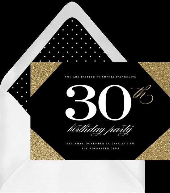 Glam Glitter Corners 50th birthday invitations from Greenvelope