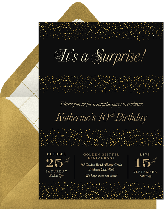 Shimmery Surprise 50th birthday invitations from Greenvelope