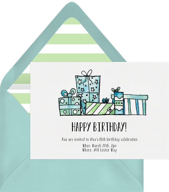 Watercolor Gift Boxes 50th birthday invitations from Greenvelope