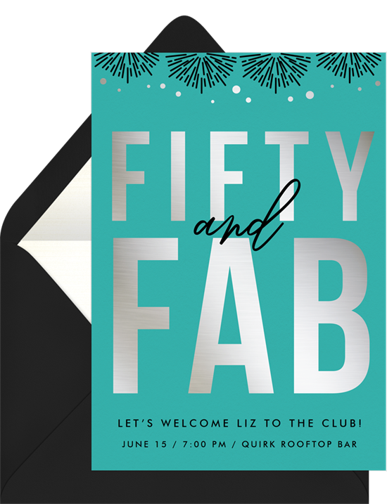 Fifty and Fab 50th birthday invitations from Greenvelope