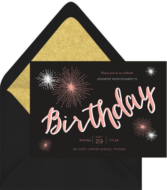 Birthday Sparklers Surprise Party Invitations from Greenvelope