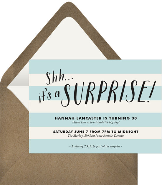 Bold Surprise Party Invitations from Greenvelope