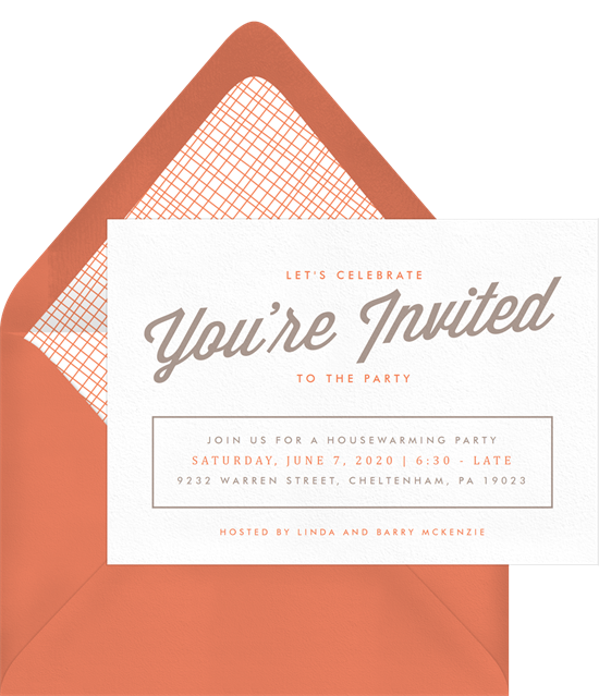 Party Script Invitations from Greenvelope