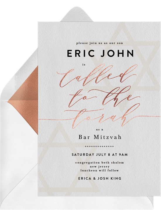 The Stylish Stars Bar Mitzvah Invitations from Greenvelope