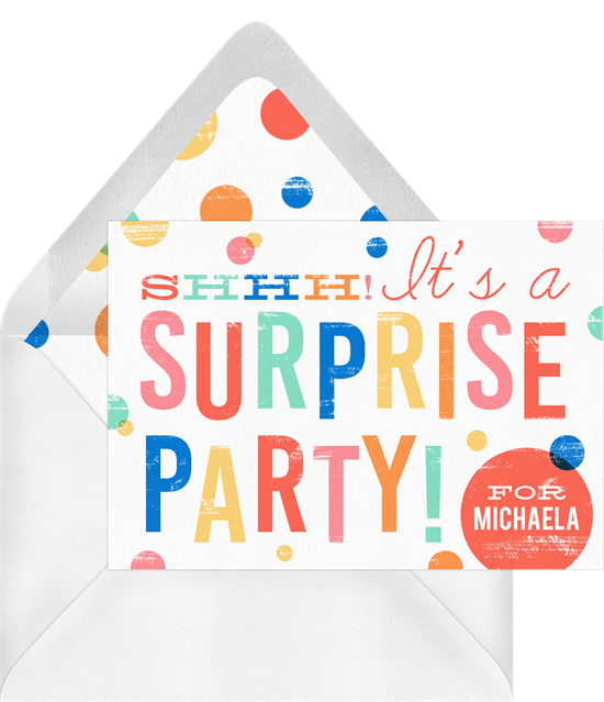 Surprise Party! Invitations from Greenvelope